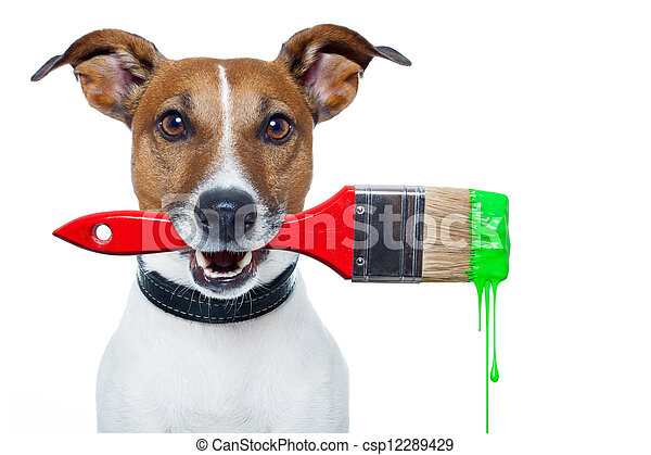 dog as a painter with a brush and color - csp12289429