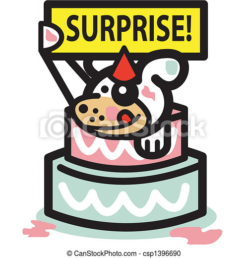 Vector Clipart of Dog Birthday Cake Surprise Party Dog popping