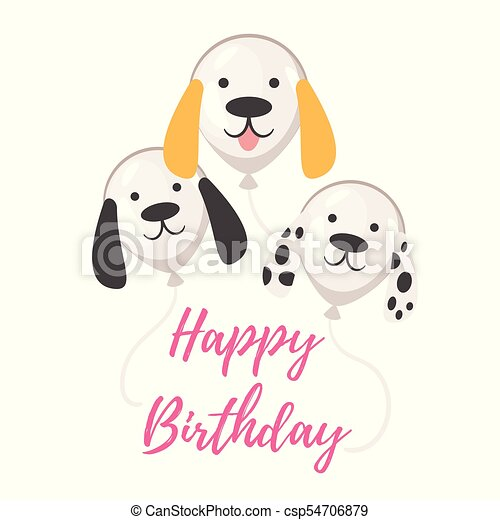 Dog Birthday Party Greeting Card Vector Cartoon Style Illustration