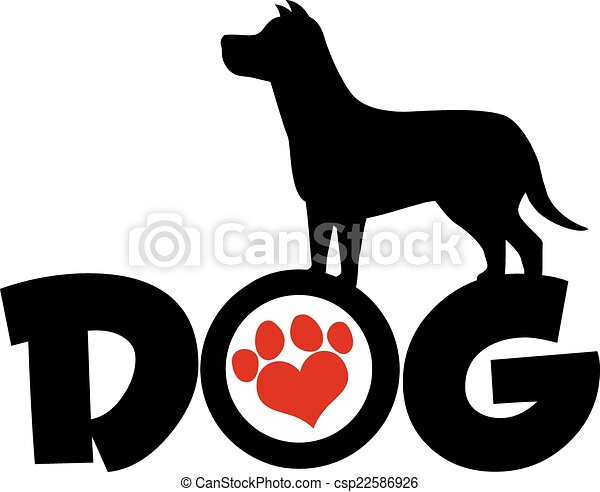 Dog Black Silhouette Over Text  - csp22586926