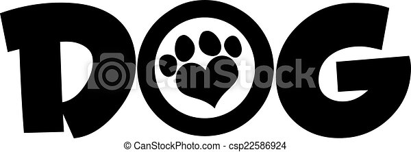 Dog Black Text With Love Paw Print  - csp22586924