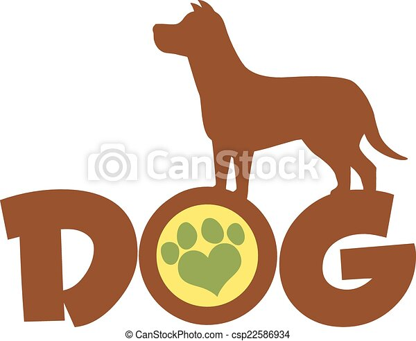 Dog Brown Silhouette Over Text - csp22586934