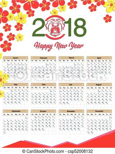 Anno Calendario Cinese.Dog Calendario Cinese 2018 Anno Nuovo Calendario Felice Lunare