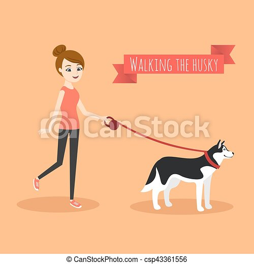 dog., camminare, lei, giovane, illustrazione, vettore, ragazza - csp43361556