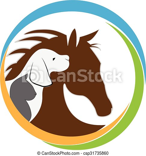 Dog cat and horse logo - csp31735860