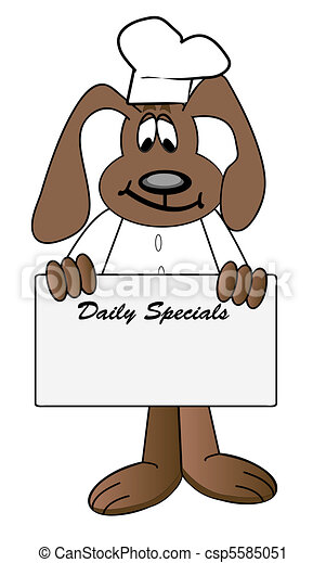 Dog Chef Holding Daily Specials Menu Sign
