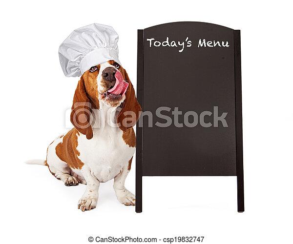 Dog Chef With Menu Chalkboard - csp19832747