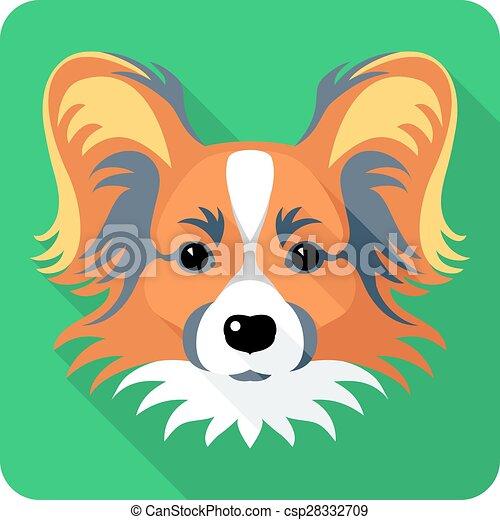 dog Chinese Crested icon flat design  - csp28332709