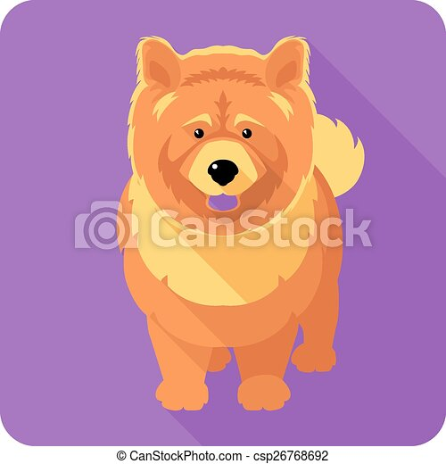 Dog Chow Chow Icon Flat Design Vector Serious Dog Red Chow Chow