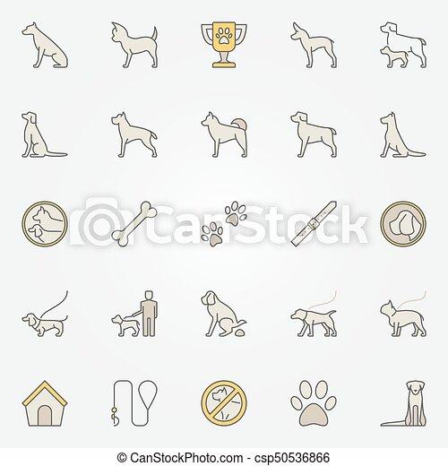 Dog colorful icons set - csp50536866