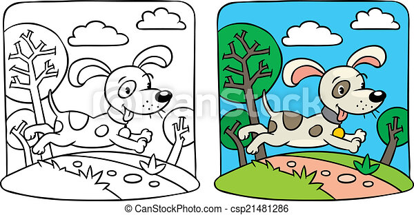 Dog Coloring Book Coloring Picture Of Little Funny Dog Running