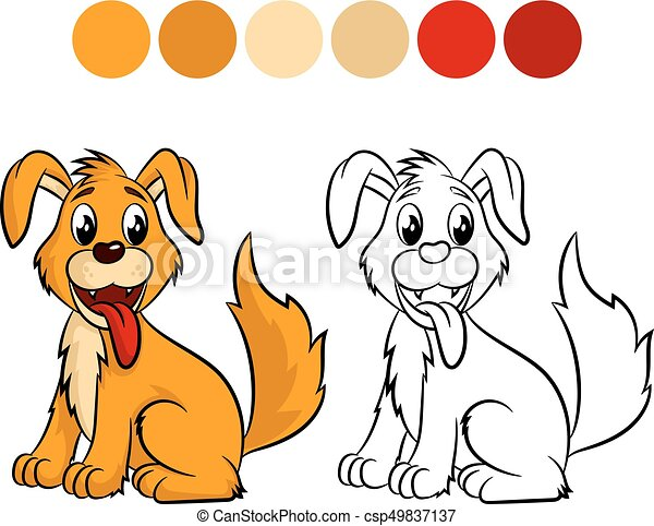 Dog Coloring Book Design For Kids And Children