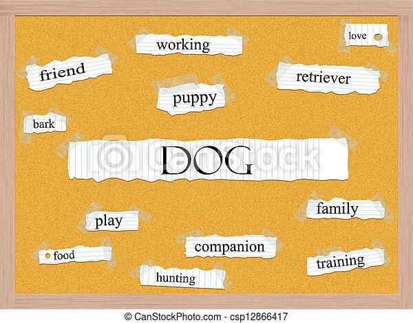 Dog Corkboard Word Concept - csp12866417