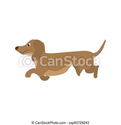 Dog Dachshund, vector illustration in cartoon style - csp83729243