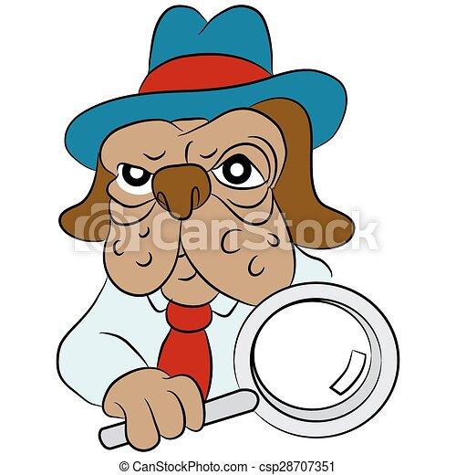 Dog Detective Cartoon - csp28707351