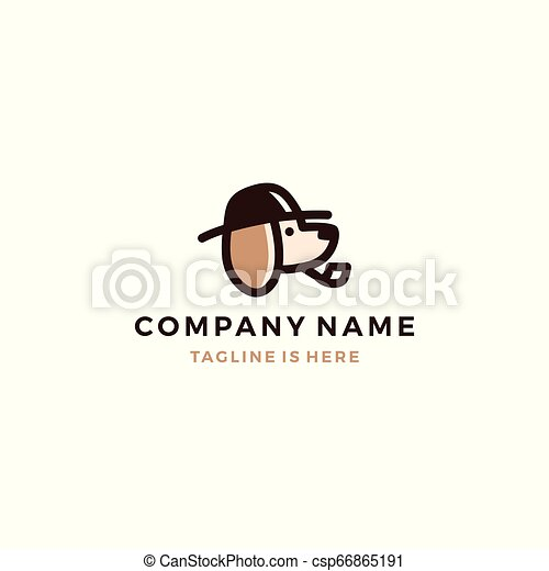 dog detective head using hat and smoking pipe icon logo template vector illustration - csp66865191