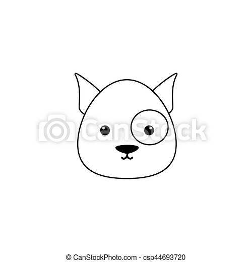 dog drawing face abstract dog line drawing face on a white background