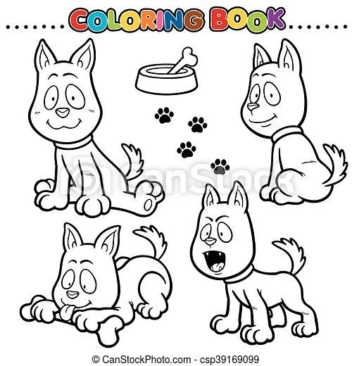 Cartoon coloring book - dog.