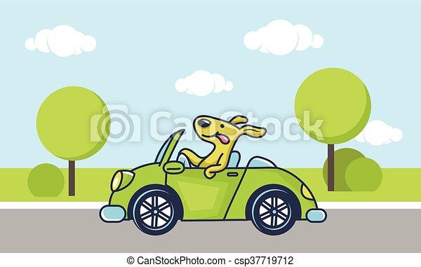 Dog Driving Car Cute Dog Driving Green Car Vector Illustration