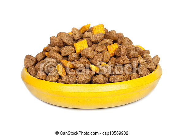 Dog dry food in a bowl - csp10589902