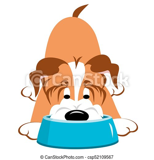 dog eating from bowl dog eating or drinking from a blue clip art rh canstockphoto com dog bow clip art dog bowl clipart