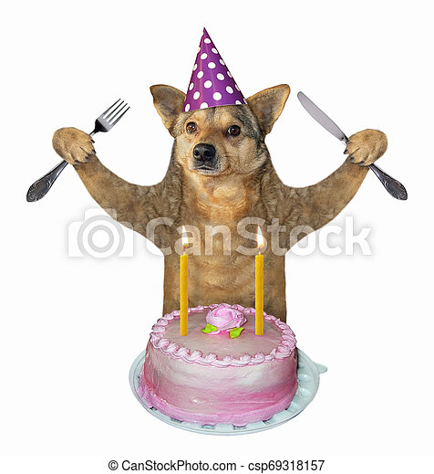 Tremendous Dog Eats The Birthday Cake 2 The Dog With A Knife And A Fork Eats Personalised Birthday Cards Veneteletsinfo