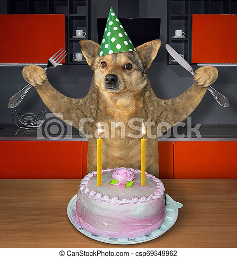 Super Dog Eats The Birthday Cake The Dog With A Knife And A Fork Eats Birthday Cards Printable Riciscafe Filternl