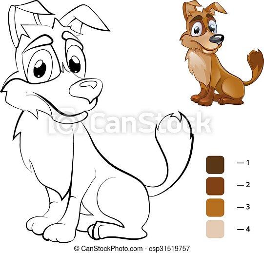 Dog., färbung, farbe, buch, kinder, vorschulisch. Dog.,... Clipart ...