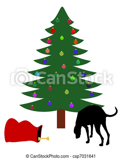 dog finds a chirstmas bone below the christmas tree vector clip art rh canstockphoto com