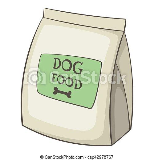 Dog food bag icon, cartoon style. Dog food bag icon ...