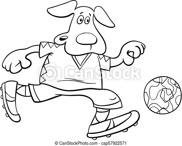 Dog football player character coloring book. Black and white cartoon ...