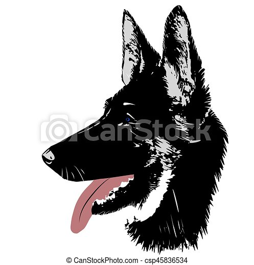 dog german shepherd logo head for vector illustration rh canstockphoto com German Shepherd Silhouette Clip Art German Shepherd Drawings
