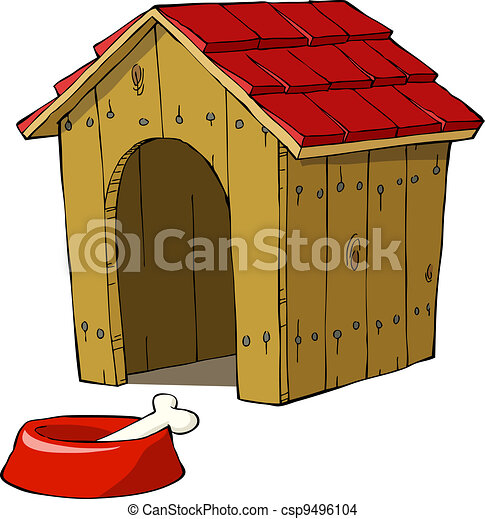 dog house and bowl with a bone vector illustration rh canstockphoto com Cartoon Dog House gingerbread dog house clipart