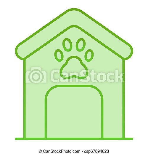 Dog house flat icon. Dog box with paw mark green icons in trendy flat style. Animal cabin gradient style design, designed for web and app. Eps 10. - csp67894623