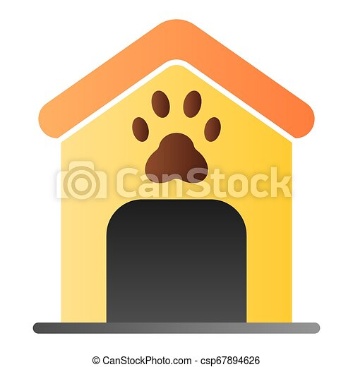 Dog house flat icon. Dog box with paw mark color icons in trendy flat style. Animal cabin gradient style design, designed for web and app. Eps 10. - csp67894626