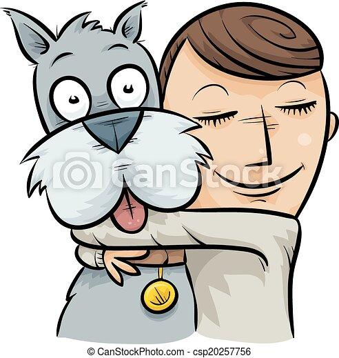 dog hug a cartoon boy hugging his friendly dog clipart vector rh canstockphoto com sisters hugging clipart hugging clipart gif