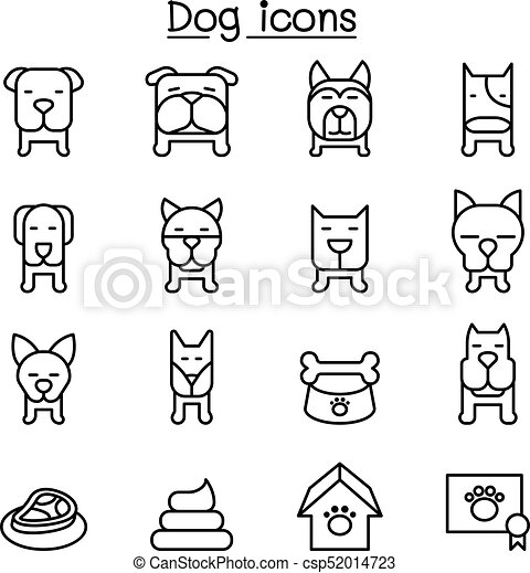 Dog icon set in thin line style - csp52014723