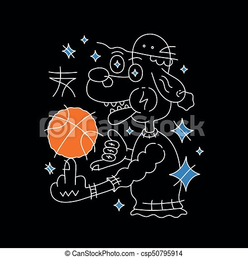 Dog in hat with basketball ball. Vector - csp50795914