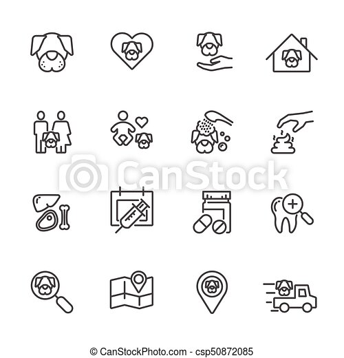 Dog is my best friend, Simple thin line icons set. Vector icon design - csp50872085