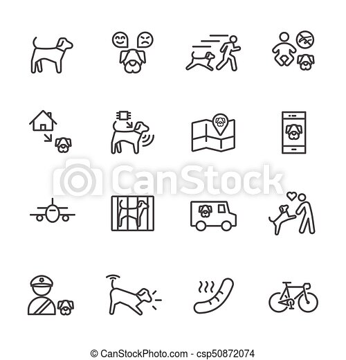 Dog is my best friend, Simple thin line icons set. Vector icon design - csp50872074