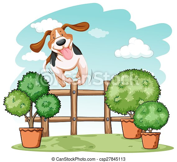 Dog jumping over the fence - csp27845113
