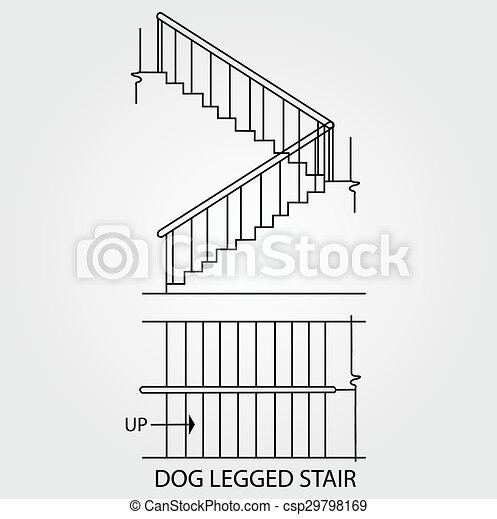 Top View And Front View Of A Dog Legged Staircase