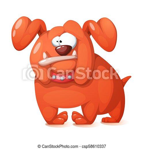 Gracioso, lindo y loco perro de dibujos animados. - csp58610337