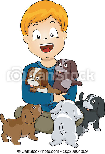 Dog lover kid. Illustration of a little kid surrounded by ...