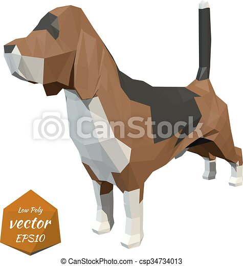 Dog. Low poly style. Vector  - csp34734013
