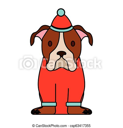 Dog Merry Christmas Card Dog With Sweater And Hat Merry Christmas Vector Illustration