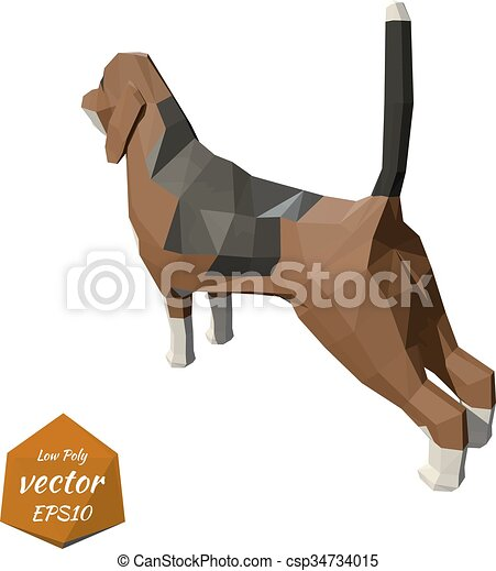 Dog on a white background. Low poly - csp34734015