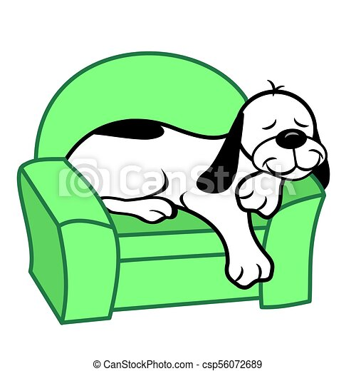 dog on couch cartoon white dog sleeping on chair cartoon rh canstockphoto com  sleeping dog clipart black and white