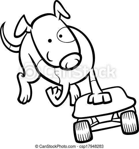 Dog on skateboard coloring page. Black and white cartoon ...