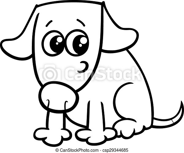 Dog or puppy coloring book. Black and white cartoon illustration of ...
